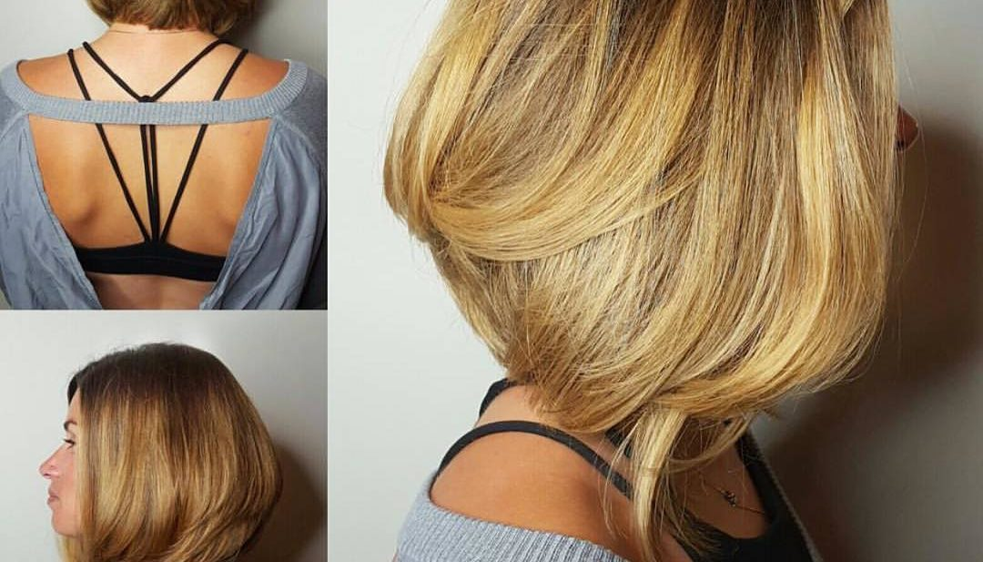 Blowout A-Line Bob with Body and Highlights on Blonde Hair