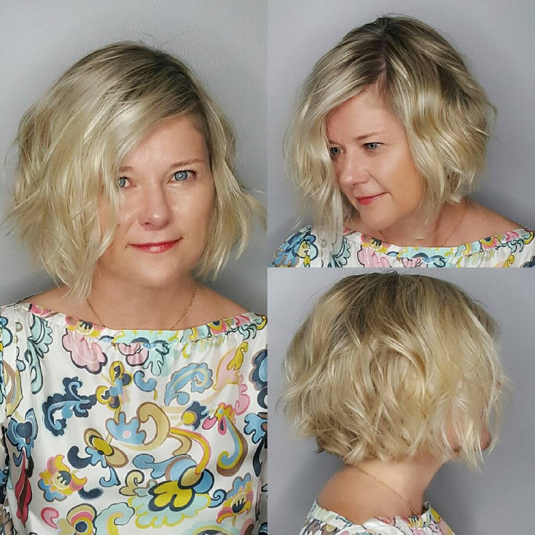 Chin Length Bob on Blonde Hair with Soft Waves