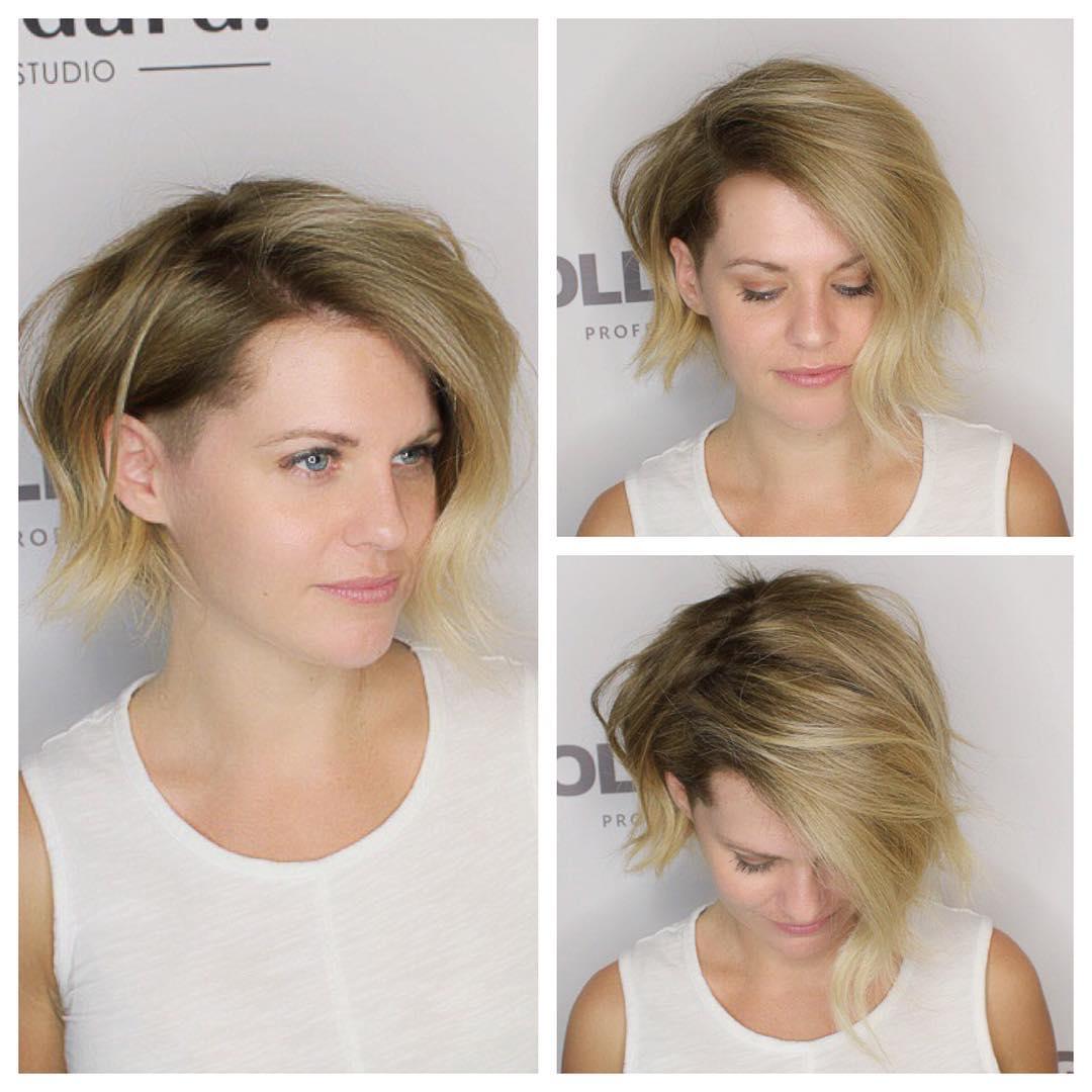 Asymmetrical Blonde Undercut Bob with Blowout Volume