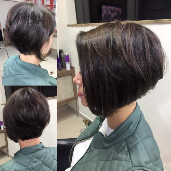 Short Brunette Stacked Bob with Front Fringe