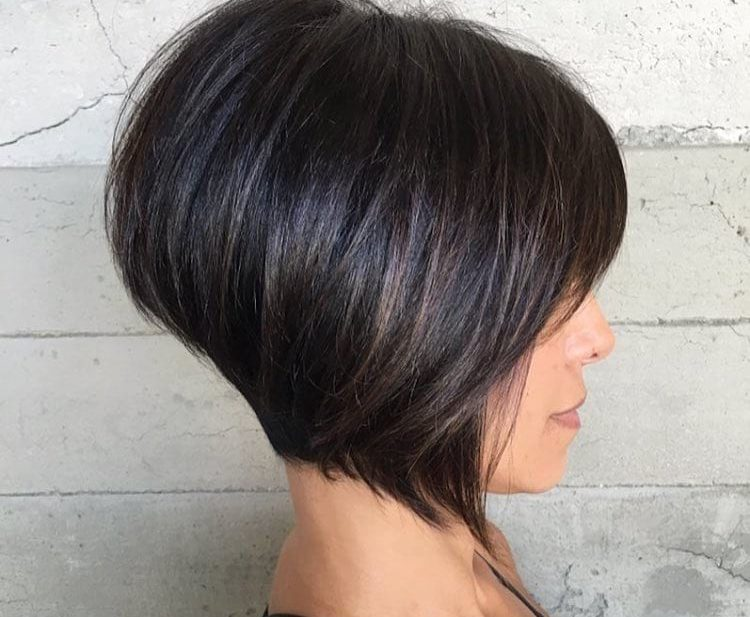 Short Brunette Inverted Bob with Bangs and Highlights