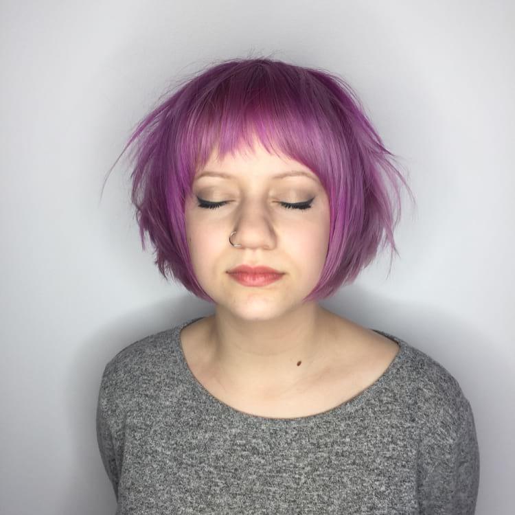 Messy Pink Graduated Pixie-Bob Fringe