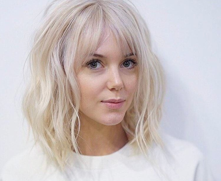 Long Platinum Bob with Wavy Fringe and Parted Bangs