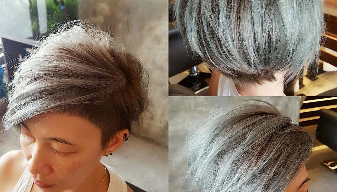 Textured Side Swept Undercut Pixie with Fringe and Silver Color
