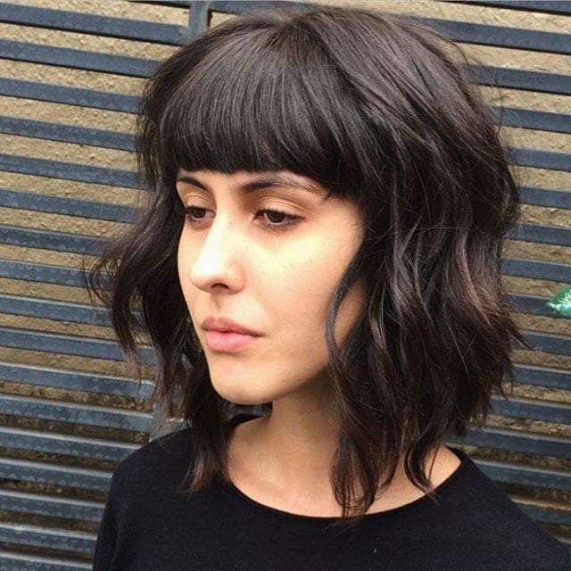Long Shaggy Brown Bob with Texture Lengths and Full Blunt Bangs