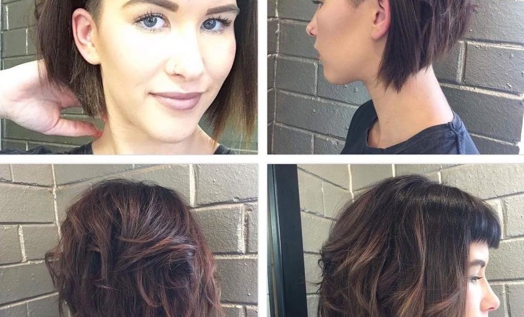 Short Angled Undercut Bob with Messy Waves and Baby Fringe Bangs