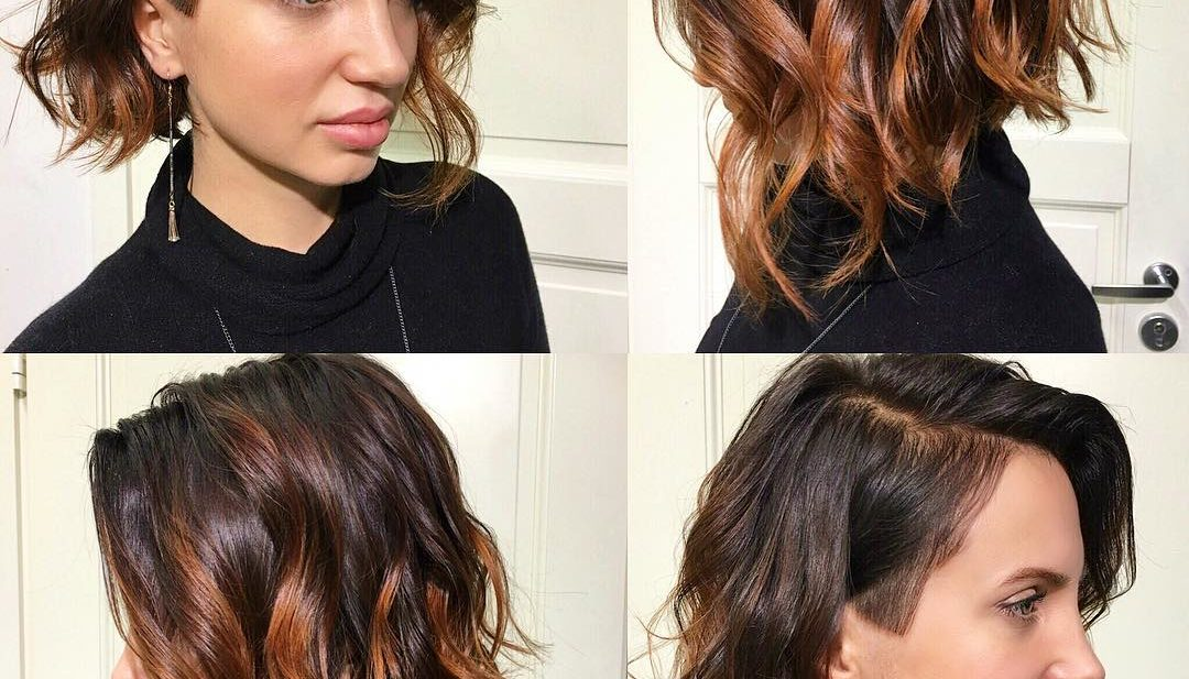 Wavy Angled Undercut Bob with Balayage Color