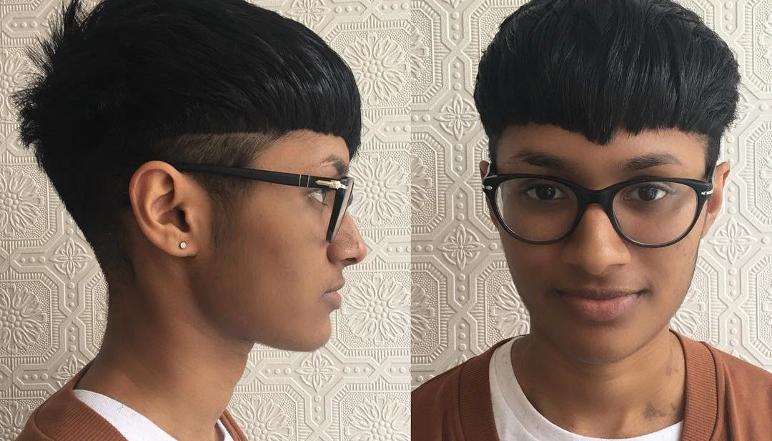 Retro Bowl Cut Pixie with Undercut on Black Hair