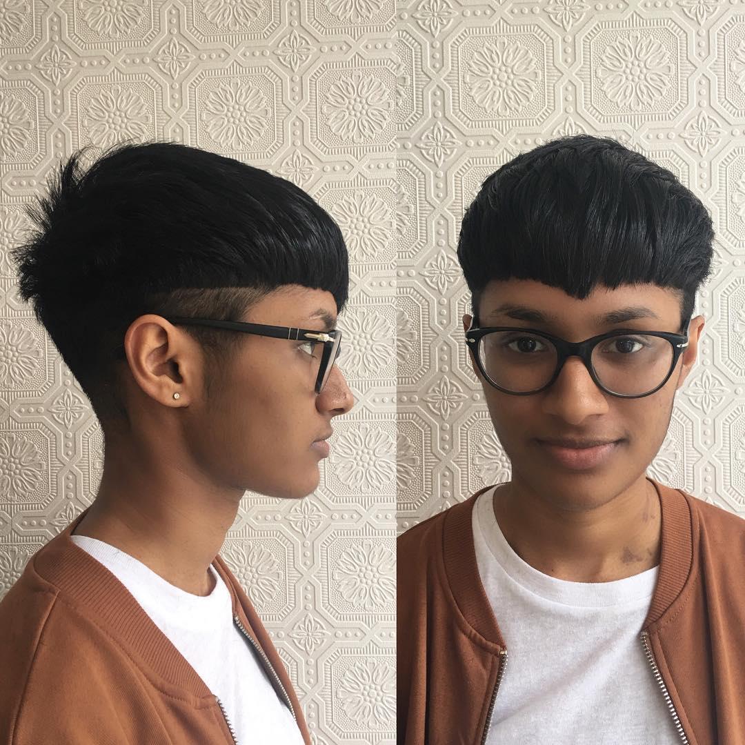 Retro Bowl Cut Pixie with Undercut on Black Hair