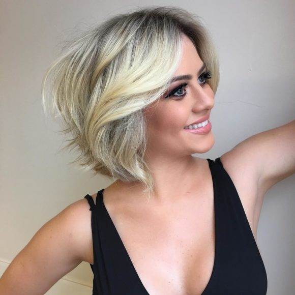 Short Shaggy Blonde Bob with Blow Out Body and Volume