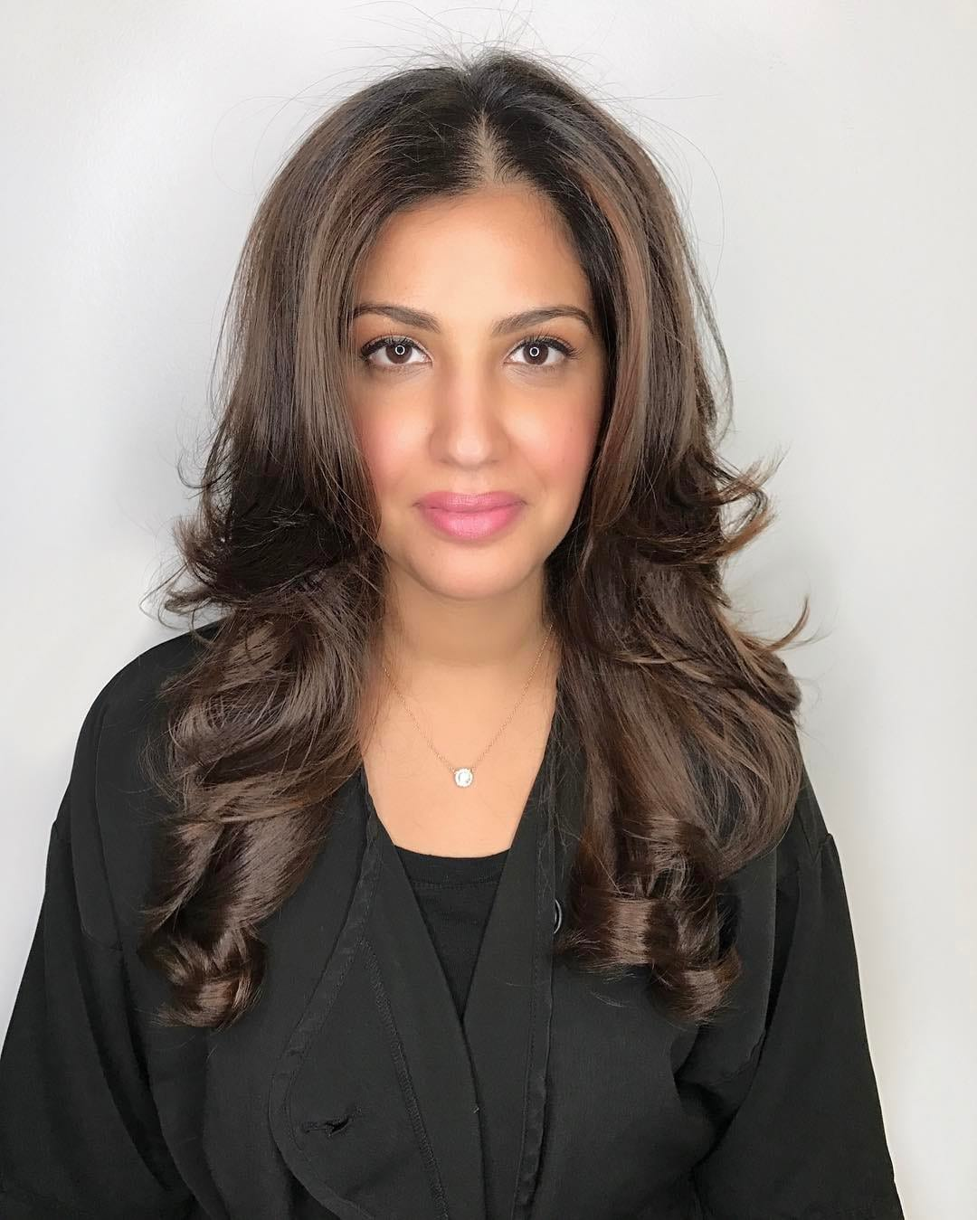 Long Layered Hair with Blowout Styling and Curled Tips on Brunette Balayage Colored Hair