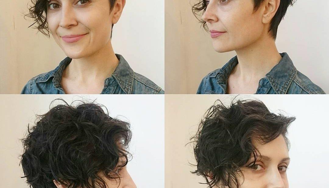 Wavy Brunette Asymmetrical Pixie Cut