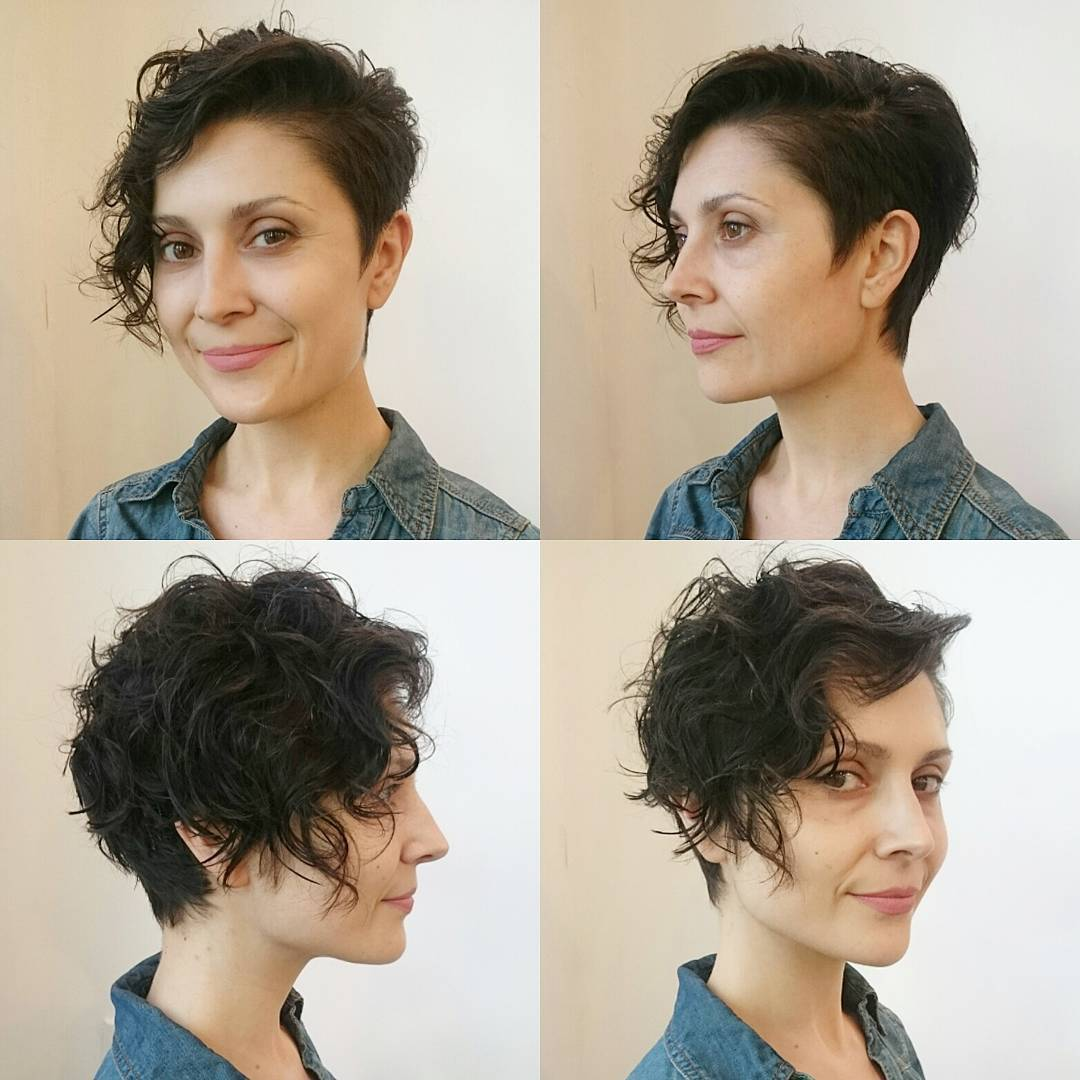 Wavy Side-Swept Asymmetrical Pixie Cut with Brunette Color