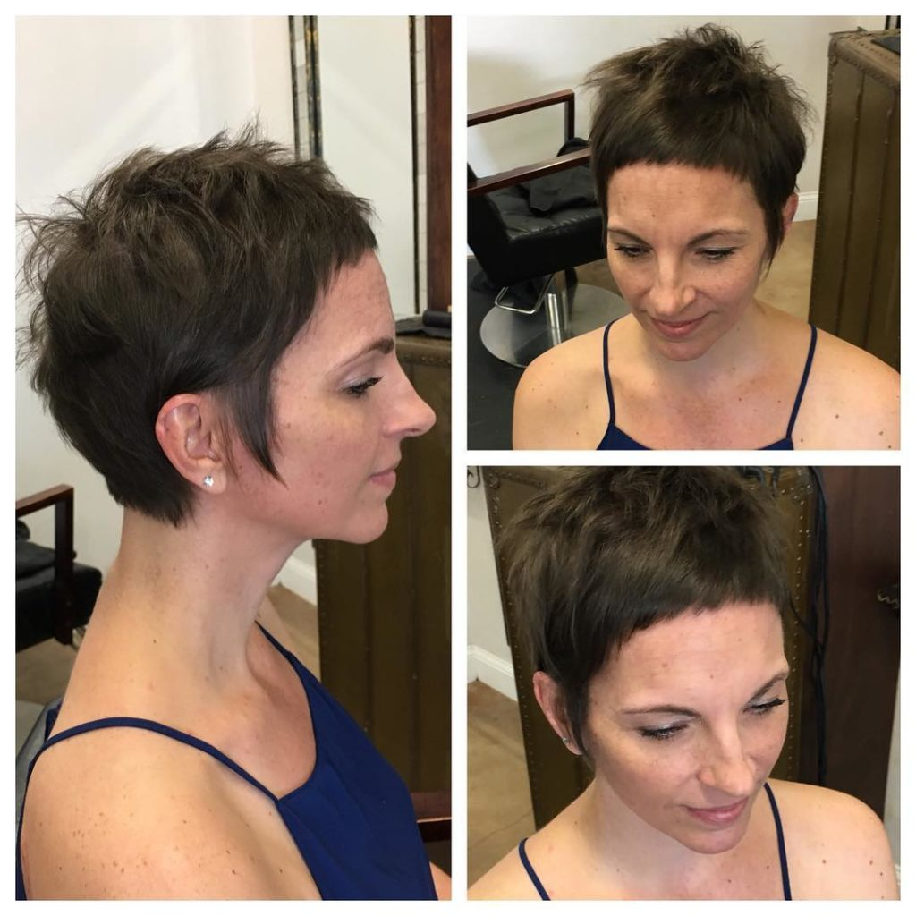 Brunette Messy Pixie Crop with Micro Bangs