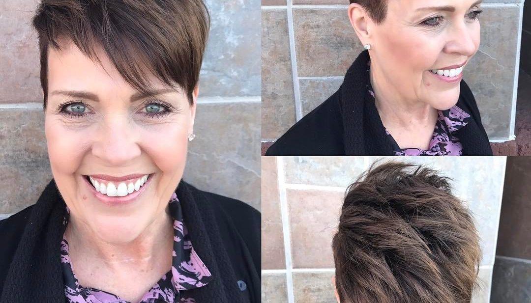 Brunette Undercut Pixie with Spiky Texture