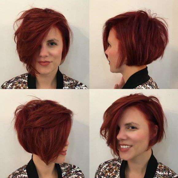 Short Messy Side-Swept Shaggy Bob with Red Color
