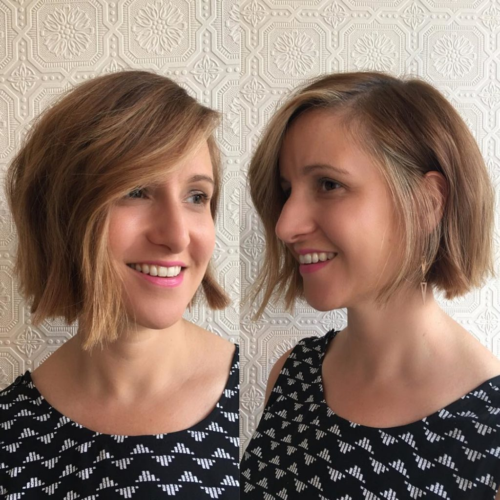 Light Brown Bob with Short Choppy Layers and Highlights