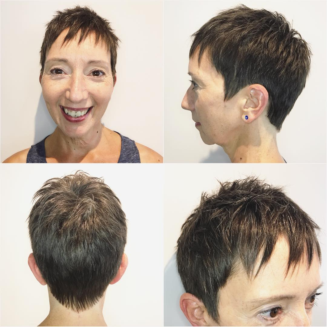 Short Brunette Pixie with Top Texture Extra Choppy Bangs