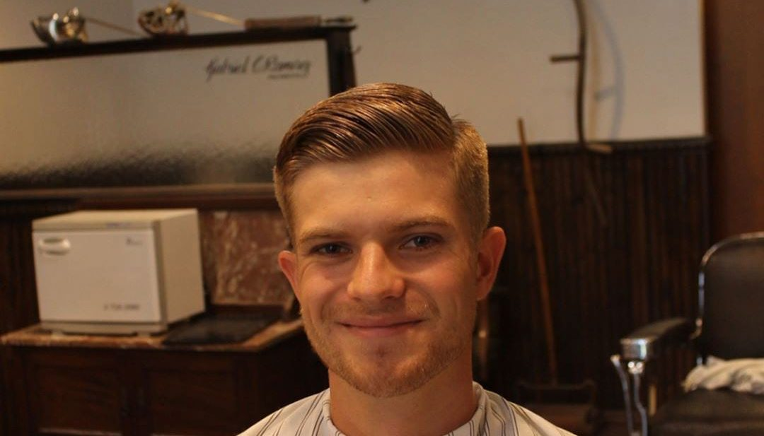 Classic Blonde Side Part on a Regular Cut with Tapered Sides