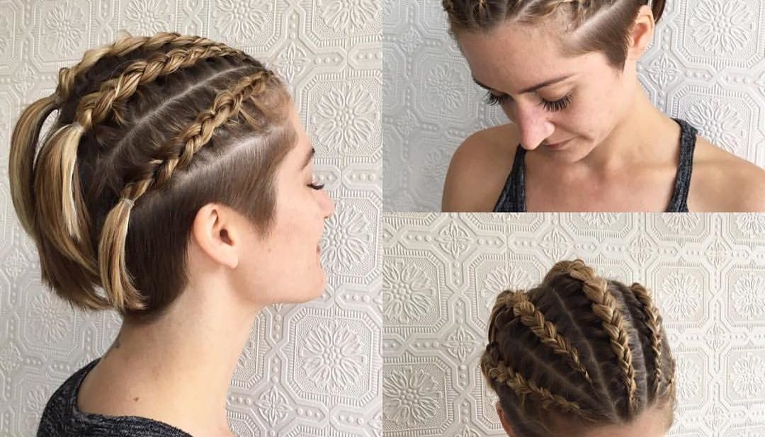 Dutch Braid Rows on Blonde Undercut Bob