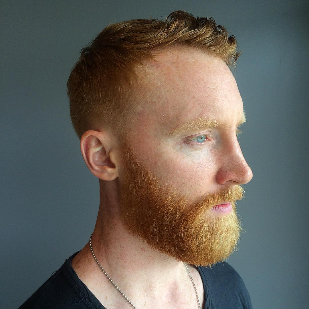 Red Crewcut with Curly Top Fringe and Tapered Sides