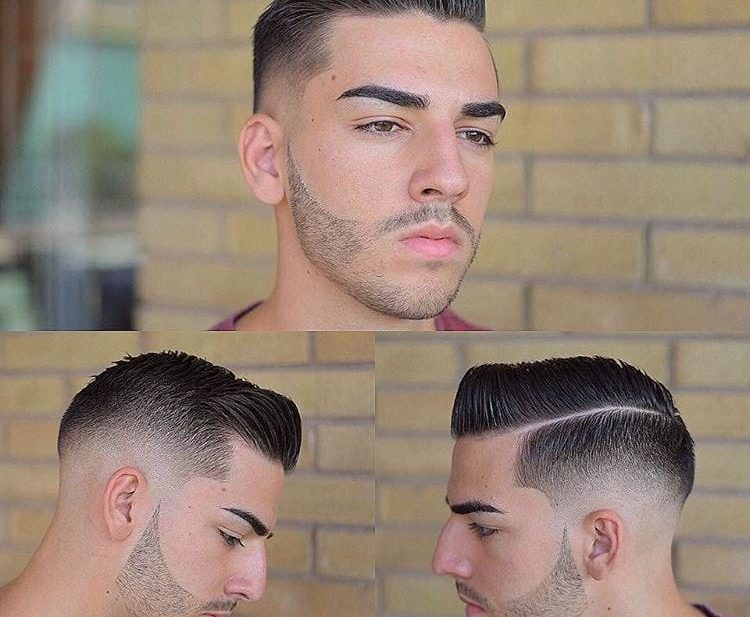 Side Part and Pompadour with Mid Fade on Dark Hair