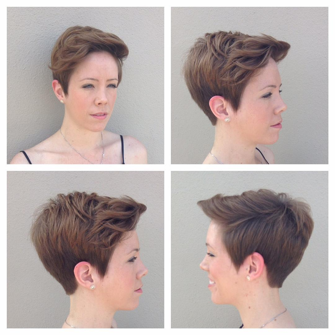 Messy Side Swept Brunette Cropped Pixie Cut