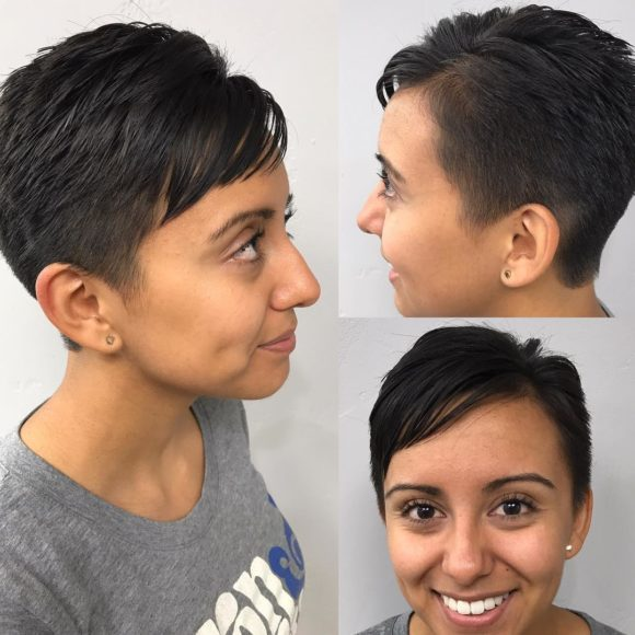Textured Pixie with Side Swept Bangs on Black Hair