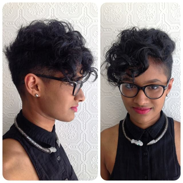Curly Black Firefly Undercut Pixie