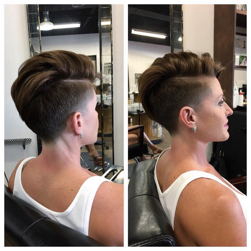 Chic Tapered Undercut with Side Part on Brunette Hair