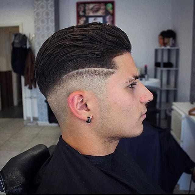 Backcombed Undercut with Temple Fade