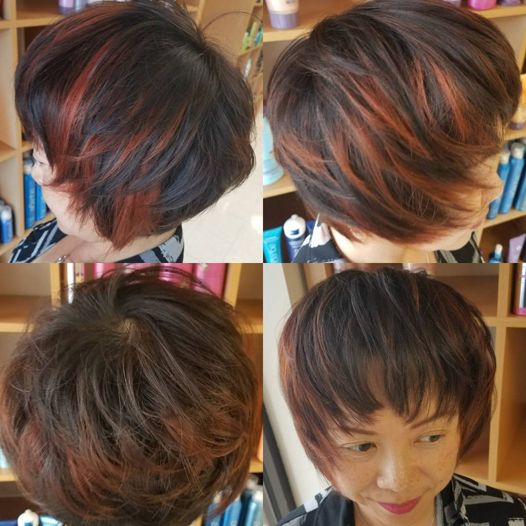 Short Shaggy Page Boy on Brunette Hair with Red Highlights