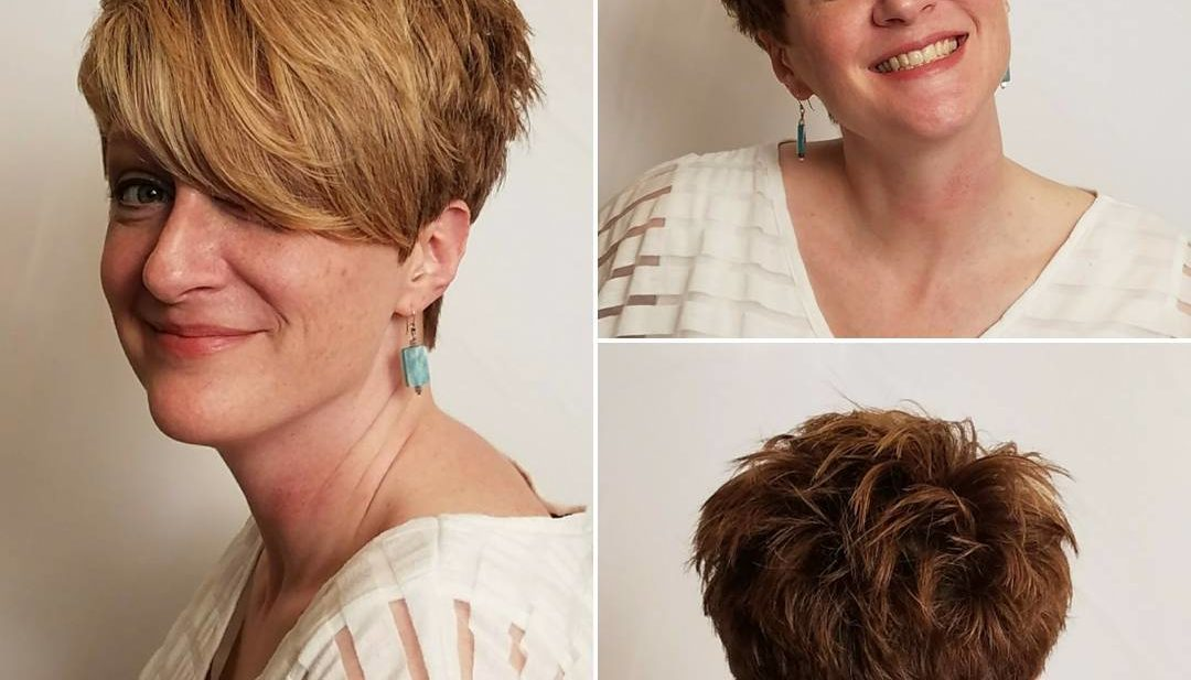 Textured Tousled Pixie Cut with Long Asymmetrical Side Swept Bangs on Warm Golden Colored Hair