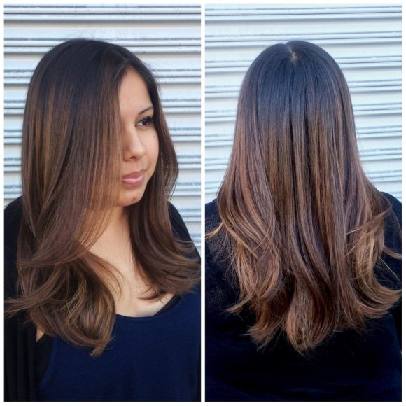 Long Brunette Hair with Short Layers and Caramel Highlights