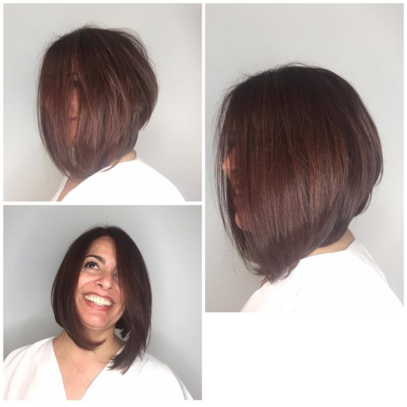 Brunette Shoulder Length Angled Bob with Blow Out Body and Volume