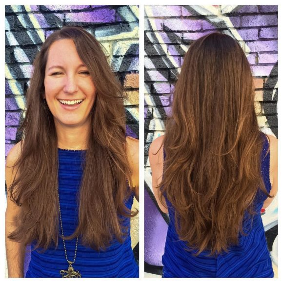 Longhair with V-Cut Long Layers on Brunette Highlighted Hair