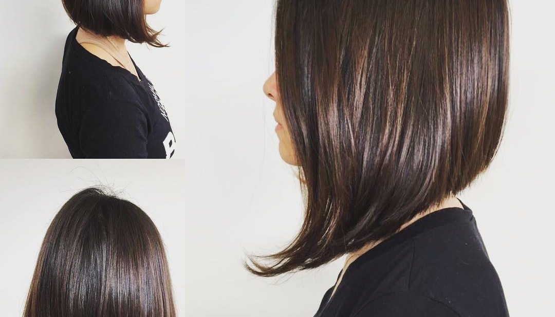 Sleek and Straight A-Line Bob on Brunette Highlights