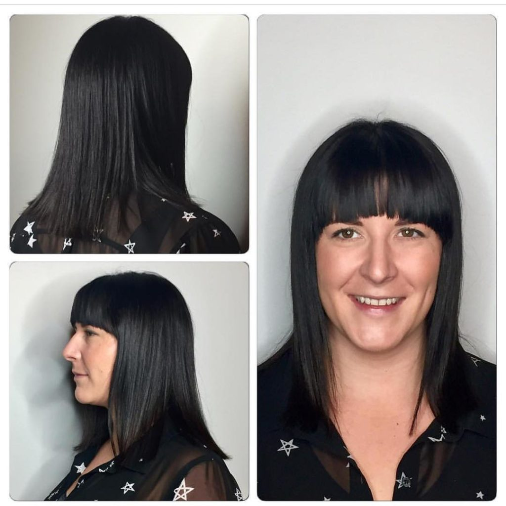 Long Blunt Bob Cut and Brow Skimming Bangs with Textured Ends on Black Hair