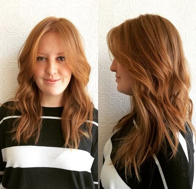 Short Textured Layers with Front Layers and Wave on Long Red Hair