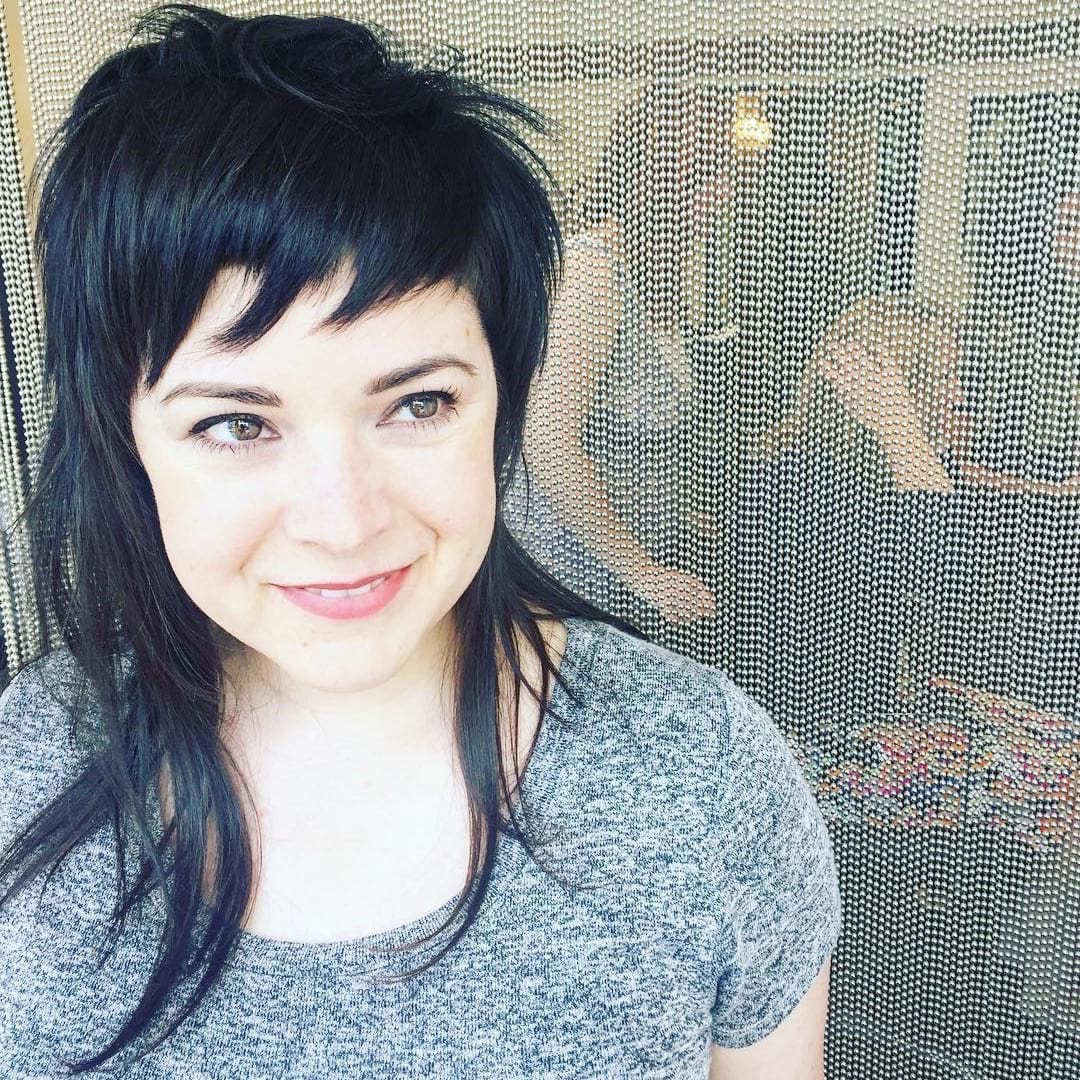 Modern Shaggy Mullet with Fringe and Choppy Bangs on Long Black Hair