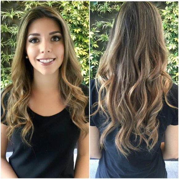 Longhair with Wavy Layers and Full Blonde Highlights on Brunette Hair