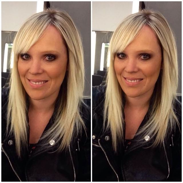 Long Shaggy Blonde Hair with Razor-Cut Layers and Side Swept Bangs