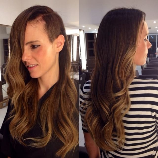 Long Wavy Hair with Shaved Side