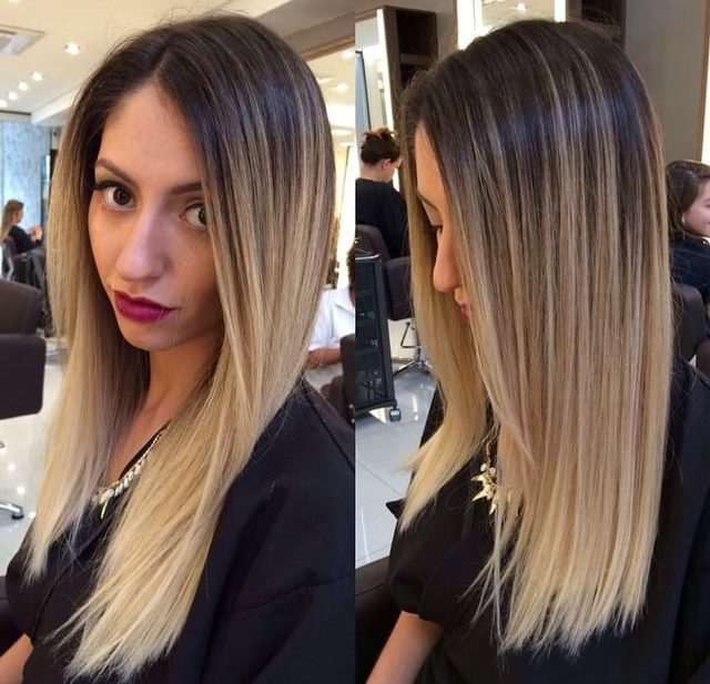 Long Straight Hair with Front Layers and Textured Ends on Blonde Ombre Colored Hair