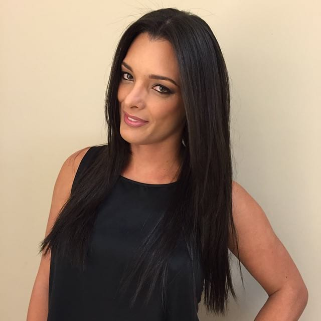 Long Straight Black Hair with Melted Front Layers and Textured Ends