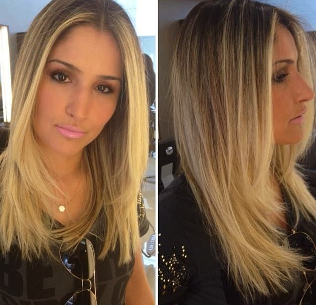 Longhair with Blonde Balayage and Textured Ends with Front Layers