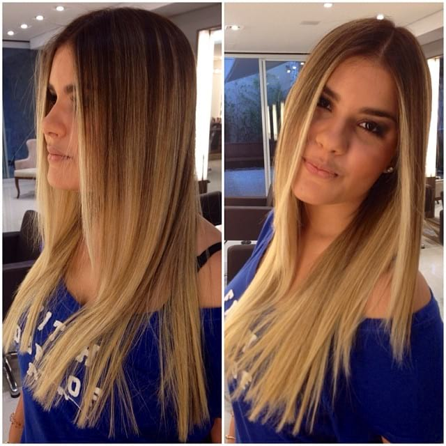 Blunt Cut on Longhair with Front Layers and Blonde Balayage