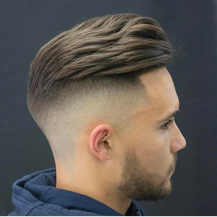Slightly Wavy Undercut Pompadour with Fade