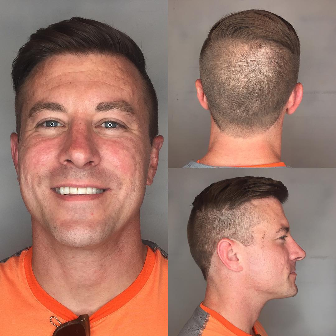 Classic High and Tight Undercut Combover on Brown Hair