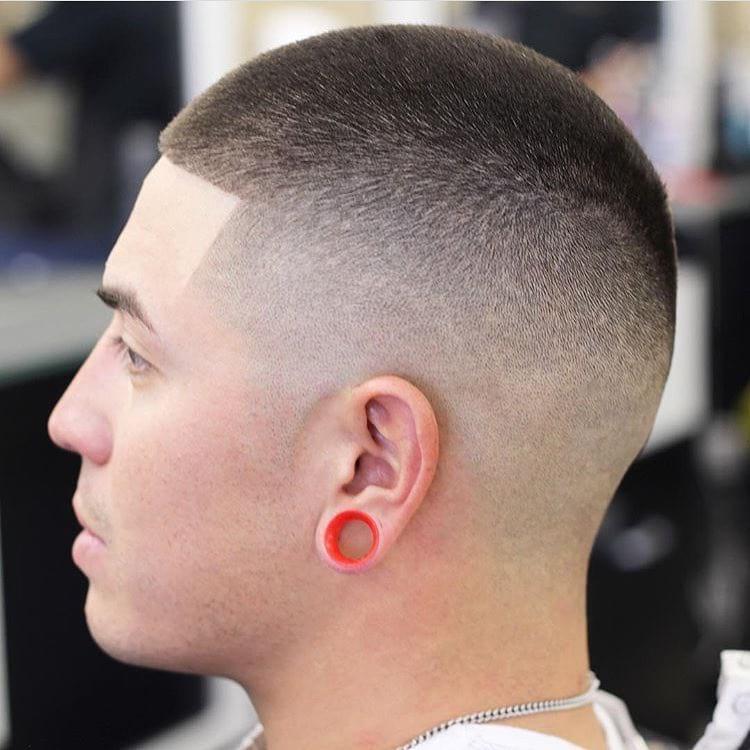 Faded Buzz Cut on Dark Hair